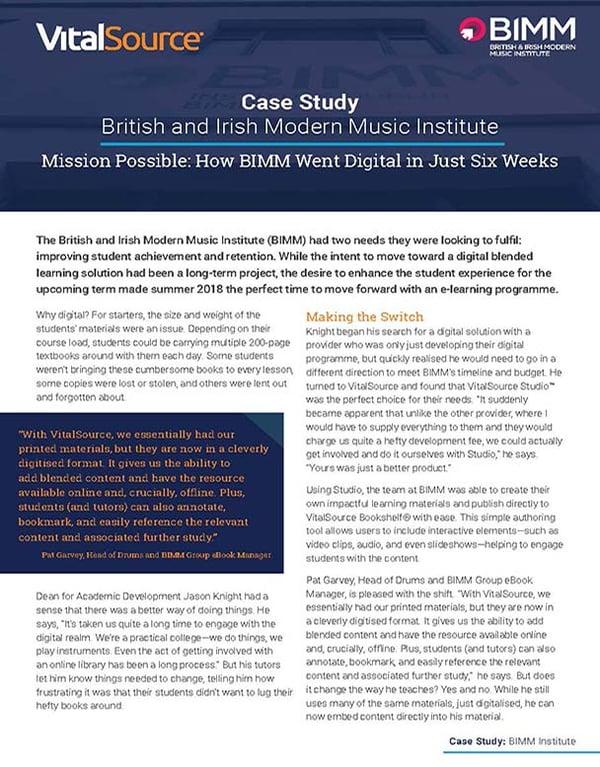 BIMM Institute: Case Study